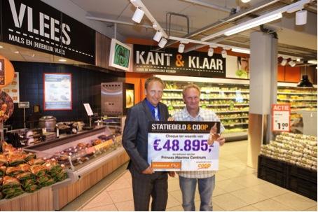 Directeur Frits Hirschstein van KiKa (rechts) ontvangt de cheque van € 48.895 uit handen van Gerard Koning, Commercieel directeur Coop Supermarkten.